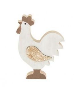 Déco poule/coq bois brun et blanc