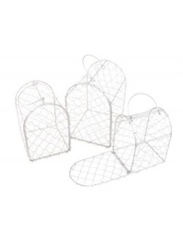 Lot de 3 cages métal gris