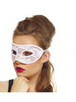 masque loup dentelle blanche