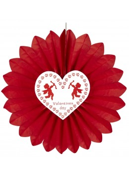 Eventail papier rouge Saint Valentin 60cm