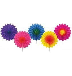Set de 5 éventails papier multicolores 8cm