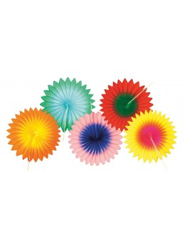 Set de 5 éventails papier multicolores 15cm