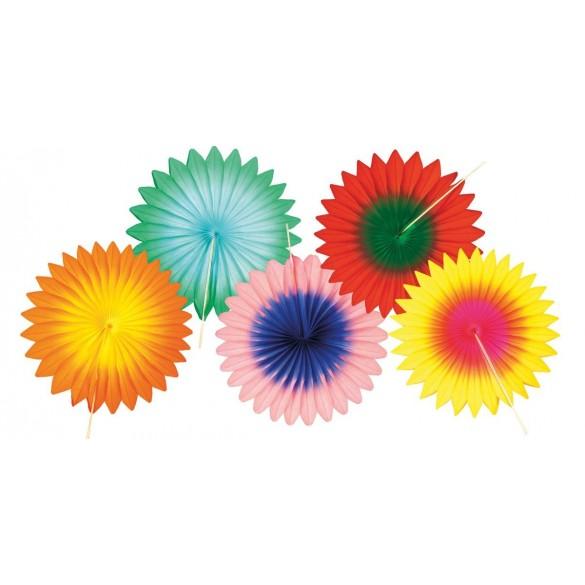 Set de 5 éventails papier multicolores 15cm