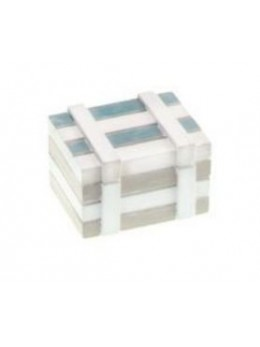 Coffre marin bois blanchi bleu ciel 7cm