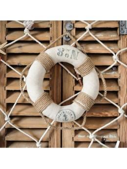 Bouée de marin lin et corde 25cm
