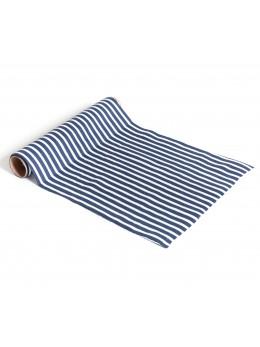 Chemin de table coton rayé bleu 28cmx5m