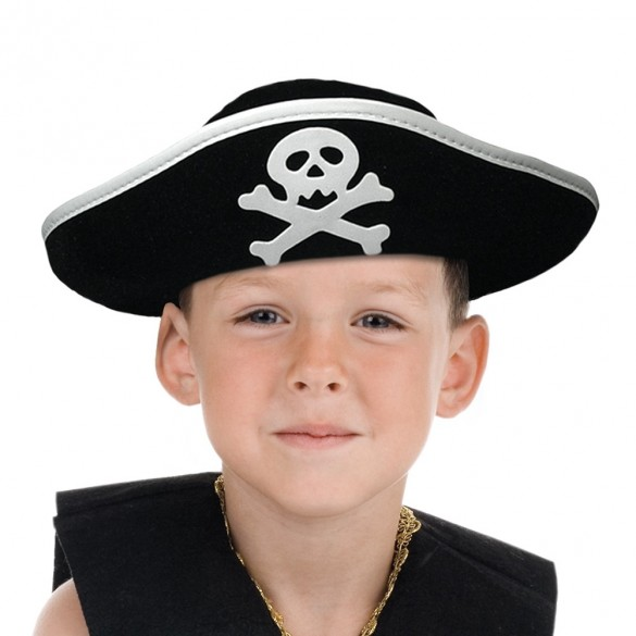 Tricorne feutre pirate enfant