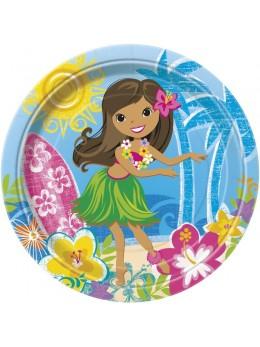 8 assiettes surf Hawaï 23cm