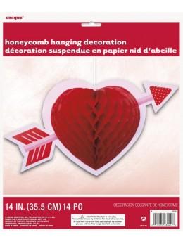 Suspension coeur rouge avec flèche
