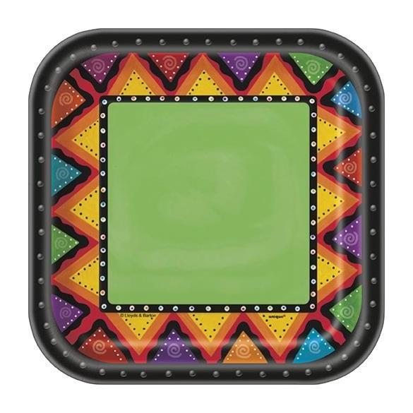 10 Assiettes carré mexicaines 17.5cm