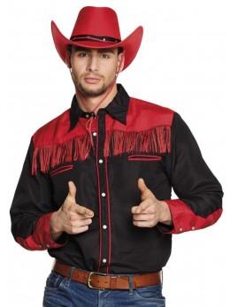 Déguisement chemise country noire et rouge