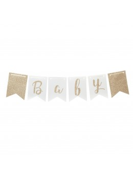 Guirlande baby shower bleu et or
