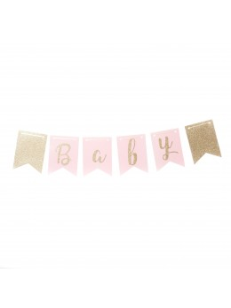 Guirlande baby shower rose et or