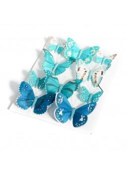10 Papillons dégradés bleu