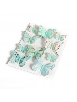 10 Papillons dégradés menthe
