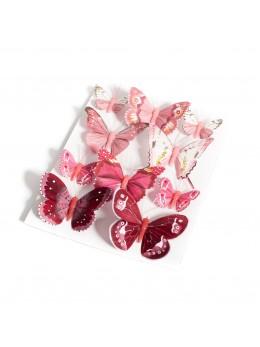 10 Papillons dégradés rose et bordeaux
