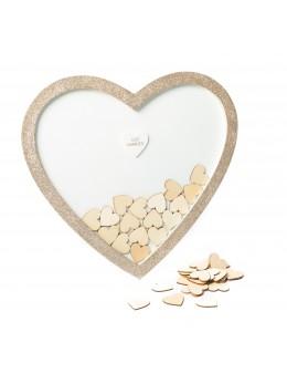 Cadre livre d'or coeur paillettes