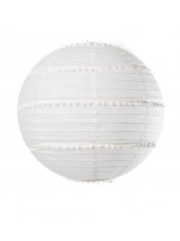 Lanterne pompons blanc 35cm