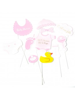 Kit photobooth baby shower fille 11 pièces