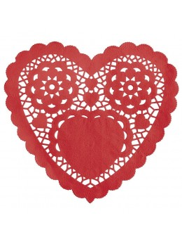 Lot de 30 napperons coeur rouge