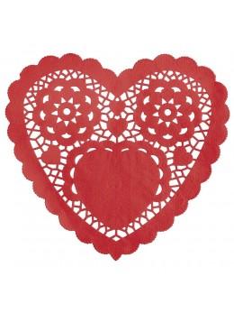 Lot de 30 napperons coeur rouge
