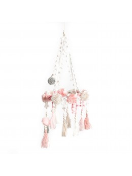 Suspension de pompons rose, gris et blanc