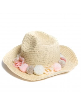 Chapeau avec fleurs et pompons