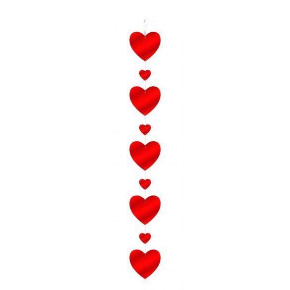 Guirlande Verticale Coeur Rouge Fetes En Folie