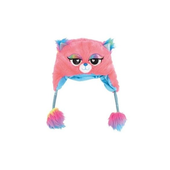 Bonnet fourrure chat rose et bleu