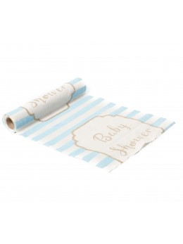 Chemin de table lin baby shower bleu ciel