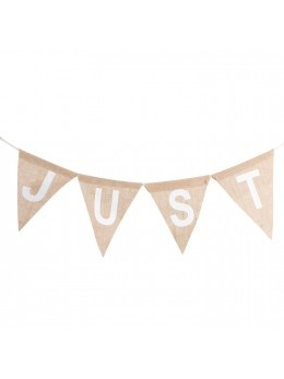 "Guirlande avec fanions jute ""Just married"" 3m20"
