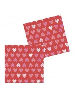 12 Serviettes papier motif coeurs