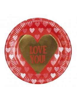6 assiettes carton Love