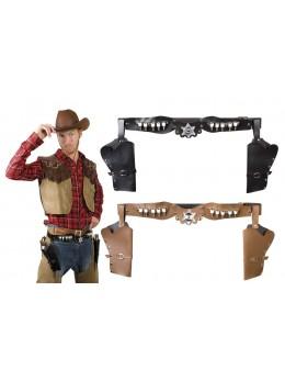 Ceinture de cowboy 2 holsters