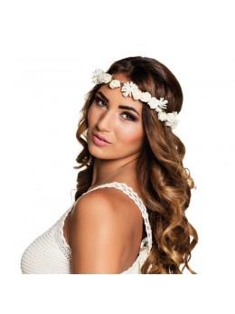 Bandeau à fleurs adulte blanc