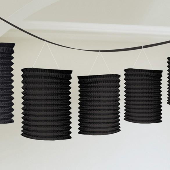 guirlande de lampions noir papier pas cher f te champ tre guinguette. Black Bedroom Furniture Sets. Home Design Ideas