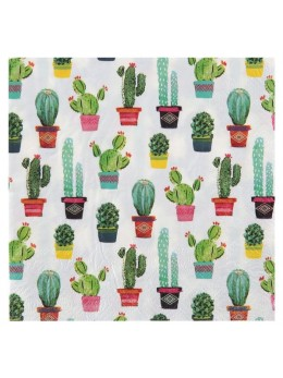 20 Serviettes Lunch cactus