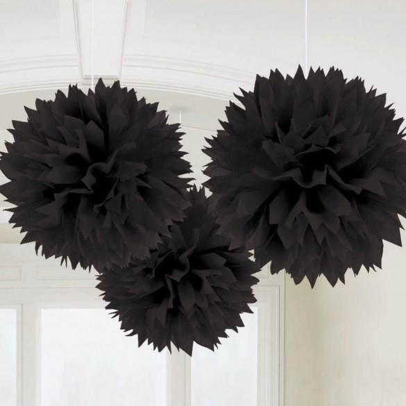 3 pompons Fleurs de soie 40cm noir