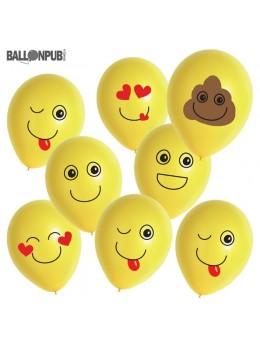 8 ballons Emoji assortis