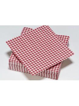 50 Serviettes lunch pique nique rouge et blanche