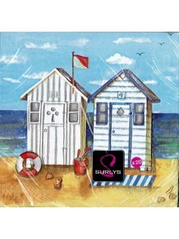 20 serviettes cabines de plage