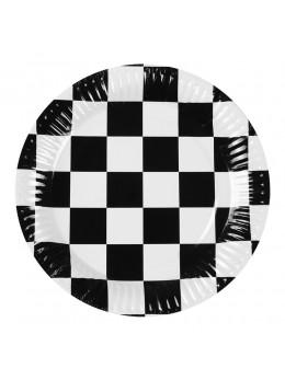 6 assiettes Racing damier 23cm