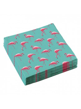 20 serviettes flamant rose
