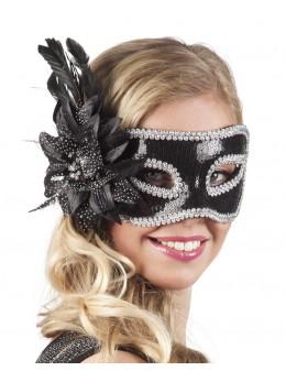 Masque loup vénitien avec fleur noire