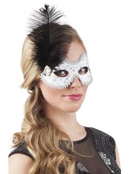 Masque loup vénitien blanc avec plume noire