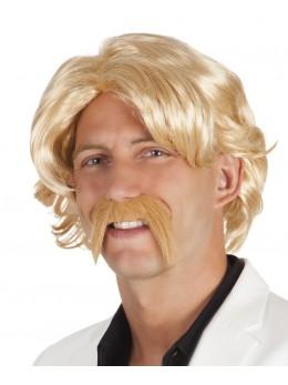 Perruque Chuck blonde avec moustache
