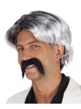 Perruque Chuck noire et blanche avec moustache