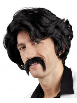 Perruque Chuck noire avec moustache