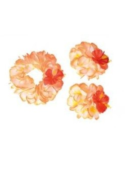 Set Hawaïen fleurs géantes oranges et blanches