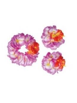 Set Hawaïen fleurs géantes violettes